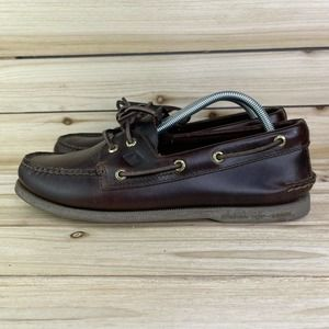 Sperry Top Sider Boat Dark Brown Shoes Mens Size 9.5 M Leather Lace Up Loafers